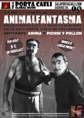 Cartel Animalfantasma + Ashra + Pichín y Pollón